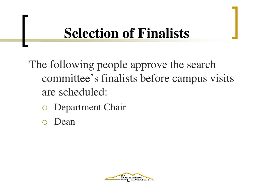 Selection of Finalists
