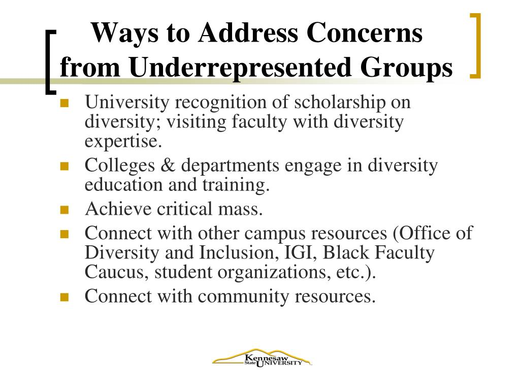 Ways to Address Concerns from Underrepresented Groups