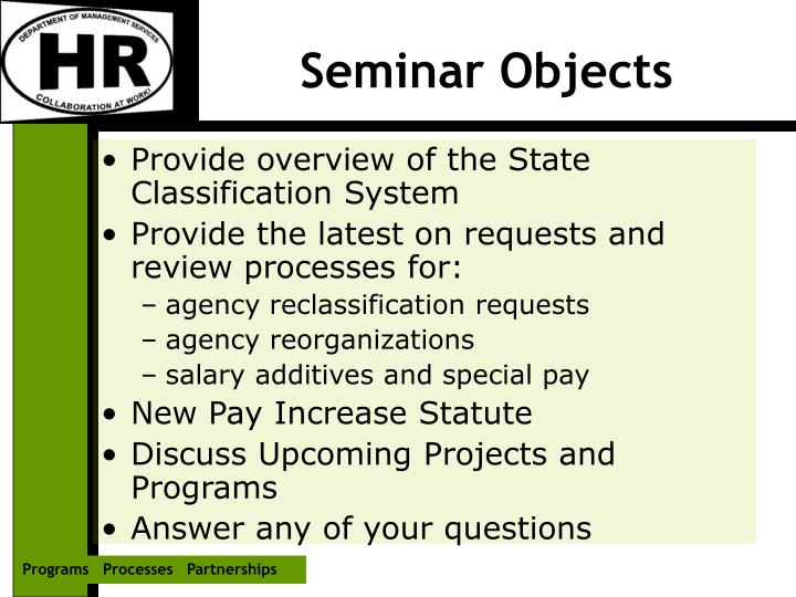 Seminar objects