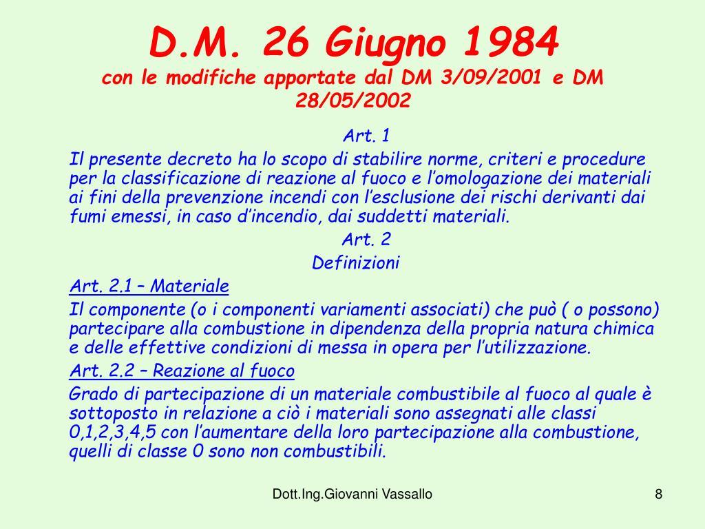 D.M. 26 Giugno 1984