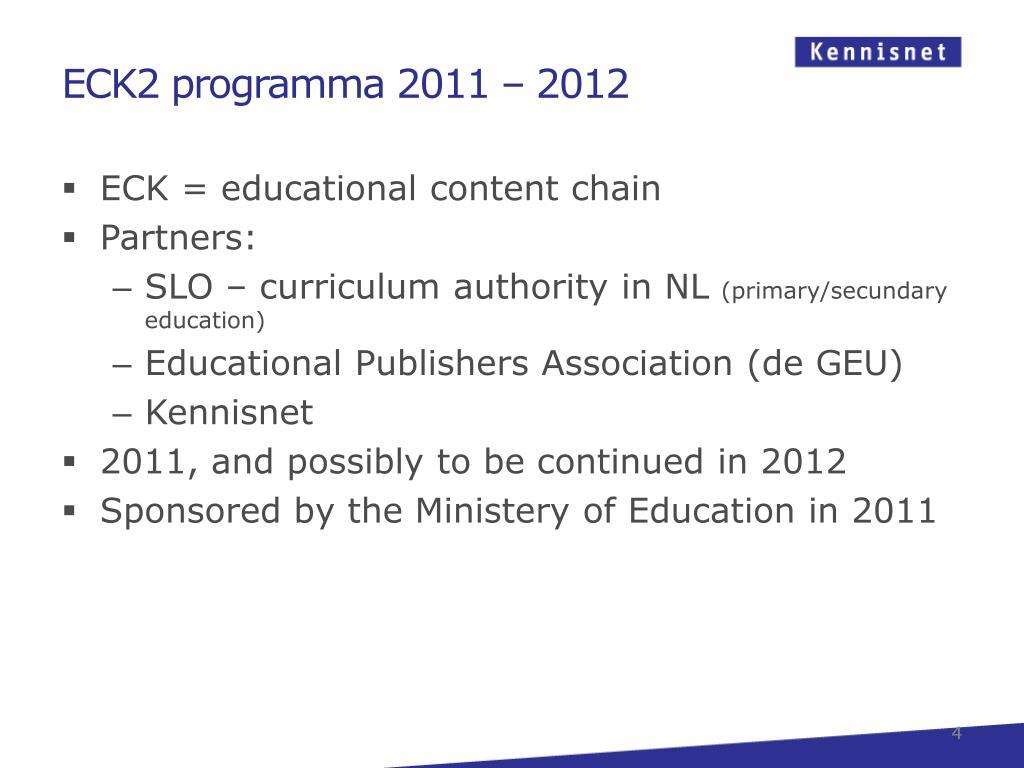 ECK2 programma 2011
