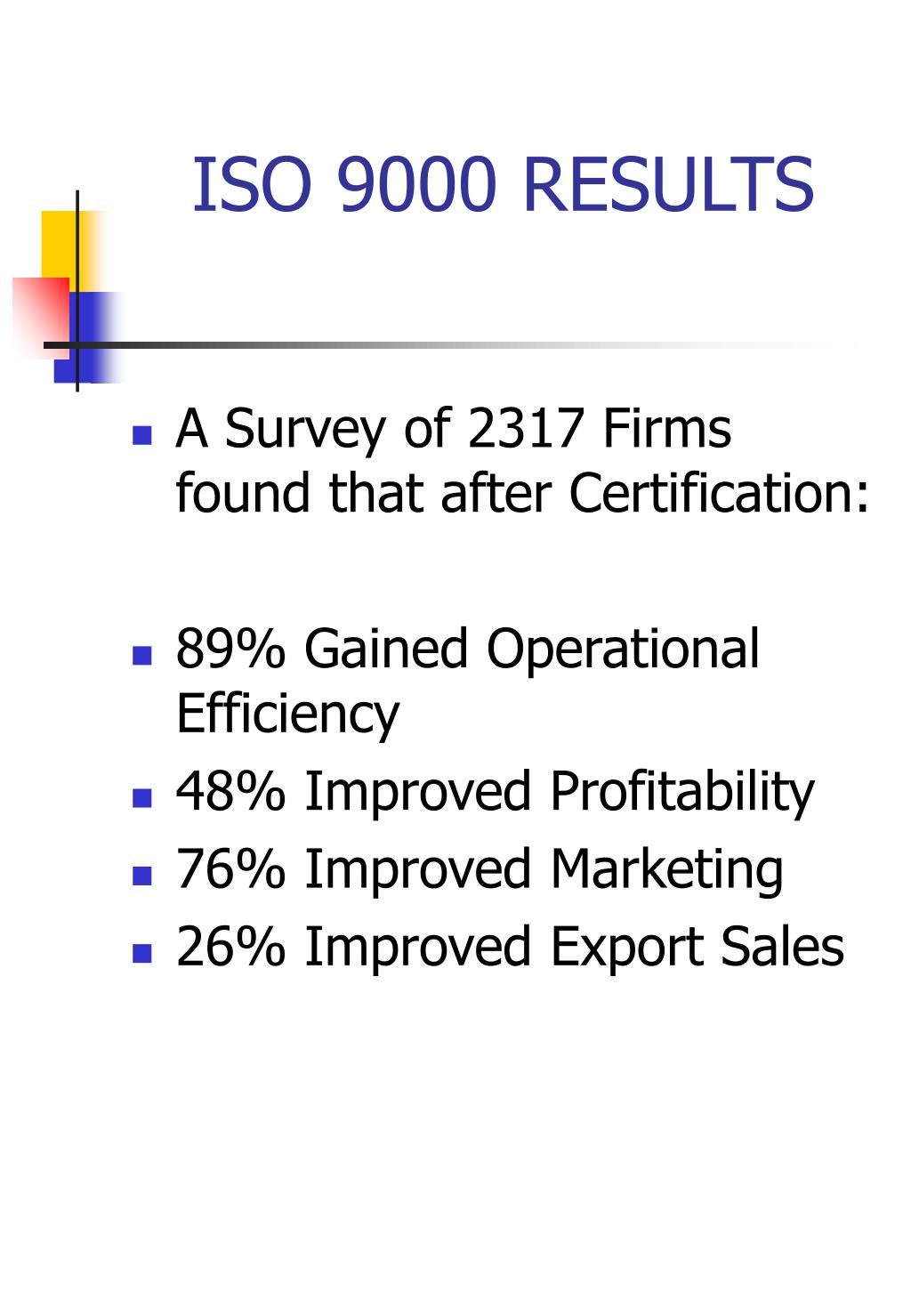 ISO 9000 RESULTS