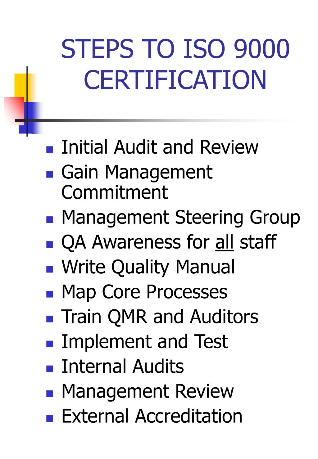 STEPS TO ISO 9000