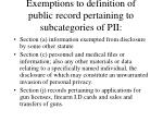 exemptions to definition of public record pertaining to subcategories of pii