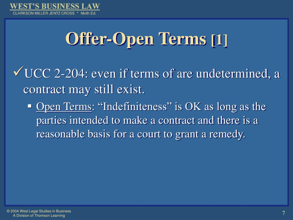 Offer-Open Terms