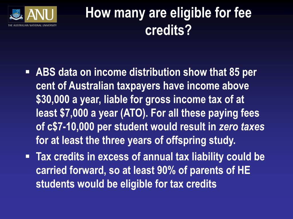 How many are eligible for fee credits?