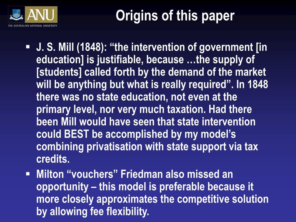 Origins of this paper