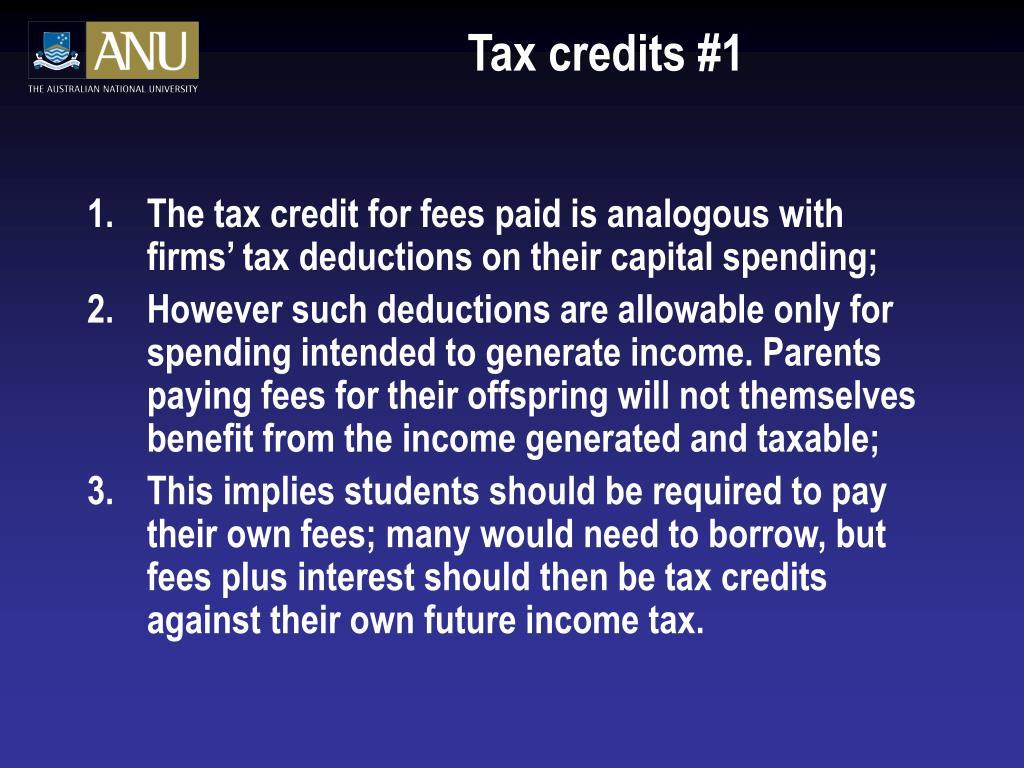 Tax credits #1