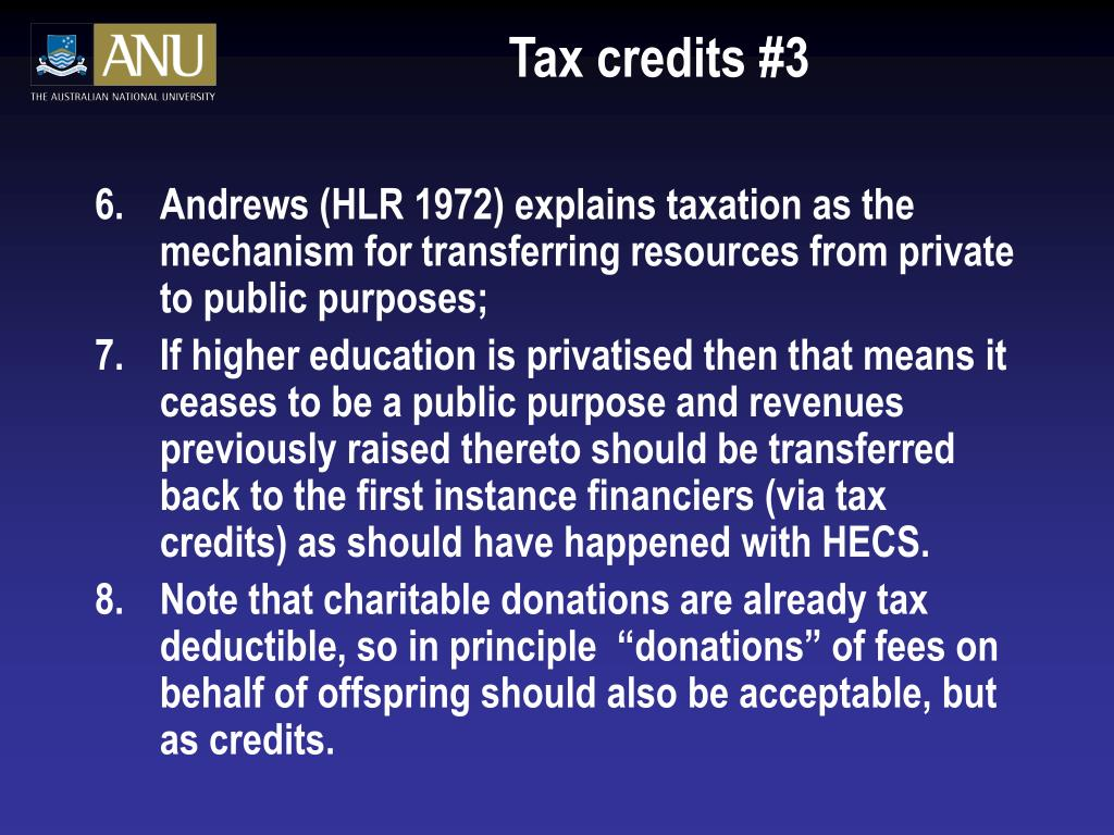 Tax credits #3