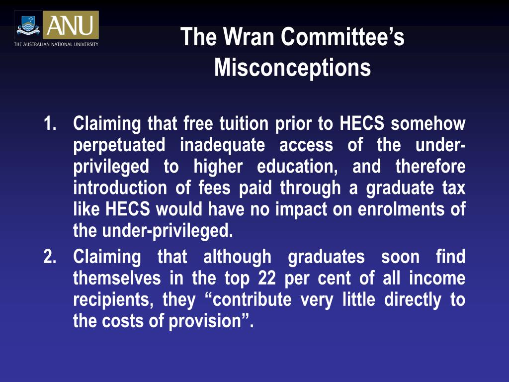 The Wran Committee's Misconceptions