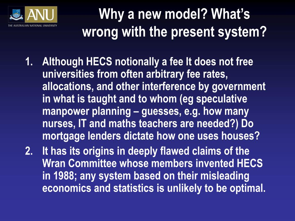 Why a new model? What's wrong with the present system?