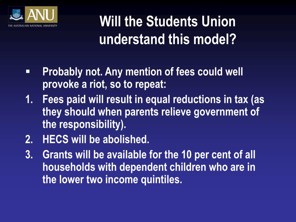 Will the Students Union understand this model?