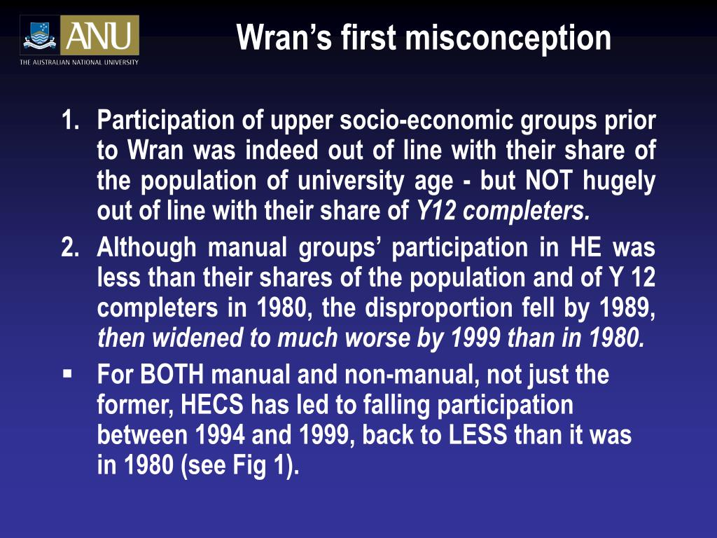 Wran's first misconception