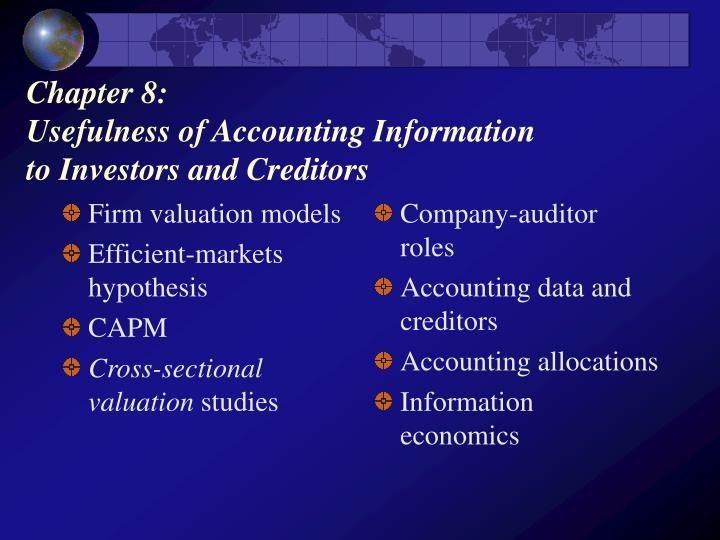Chapter 8 usefulness of accounting information to investors and creditors
