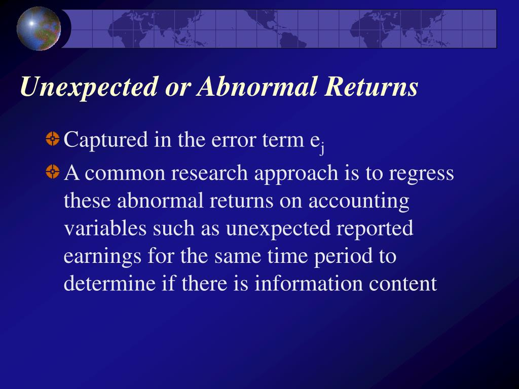 Unexpected or Abnormal Returns