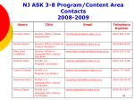 nj ask 3 8 program content area contacts 2008 2009