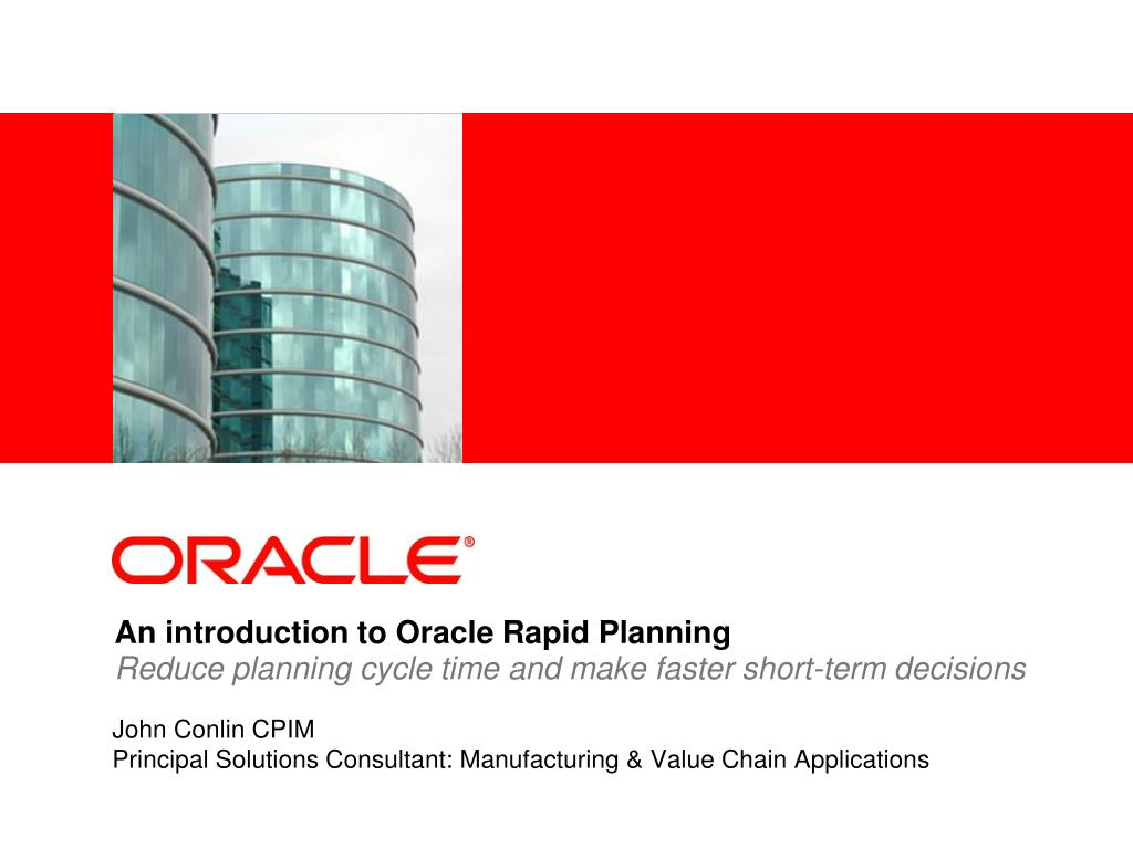 an introduction to oracle rapid planning l.