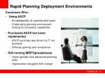 rapid planning deployment environments