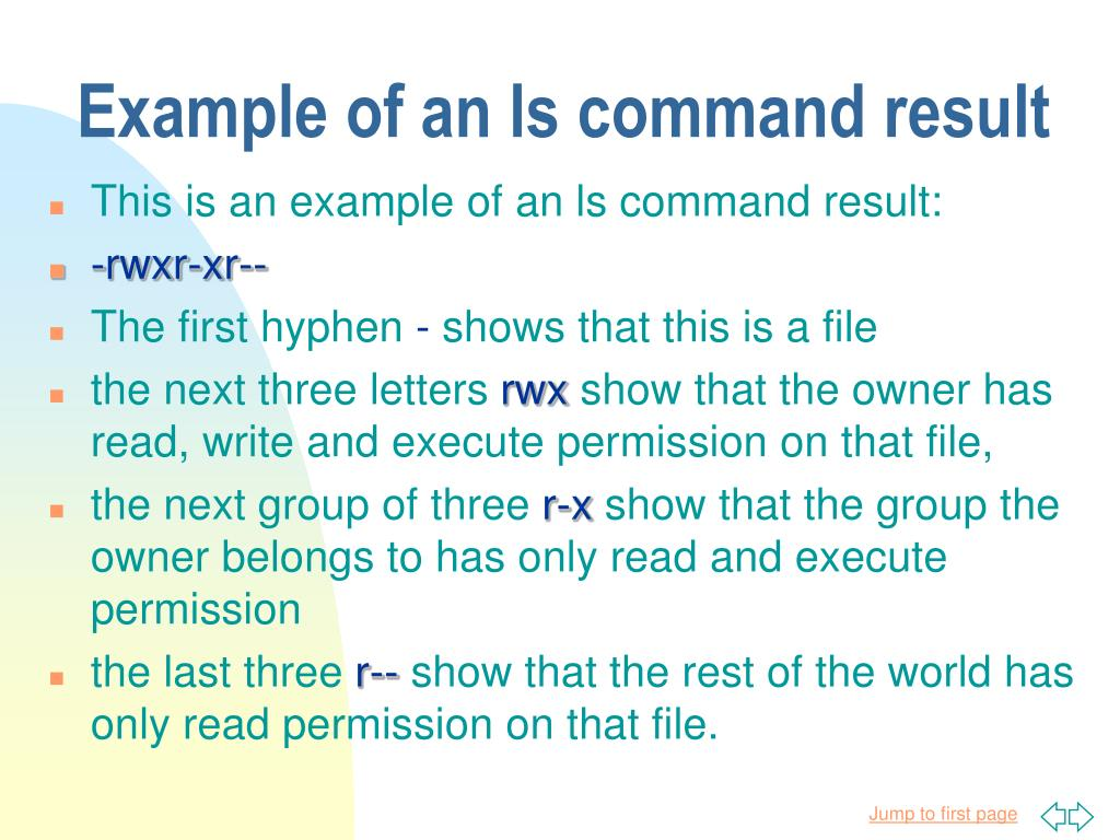 Example of an ls command result