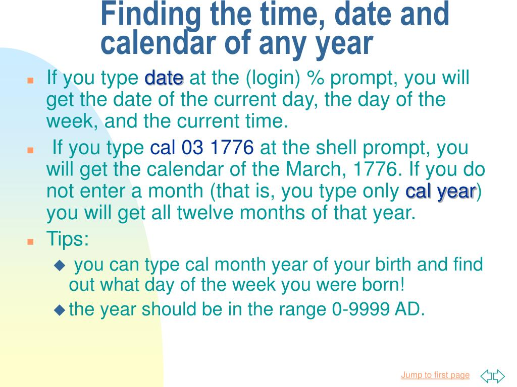Finding the time, date and calendar of any year