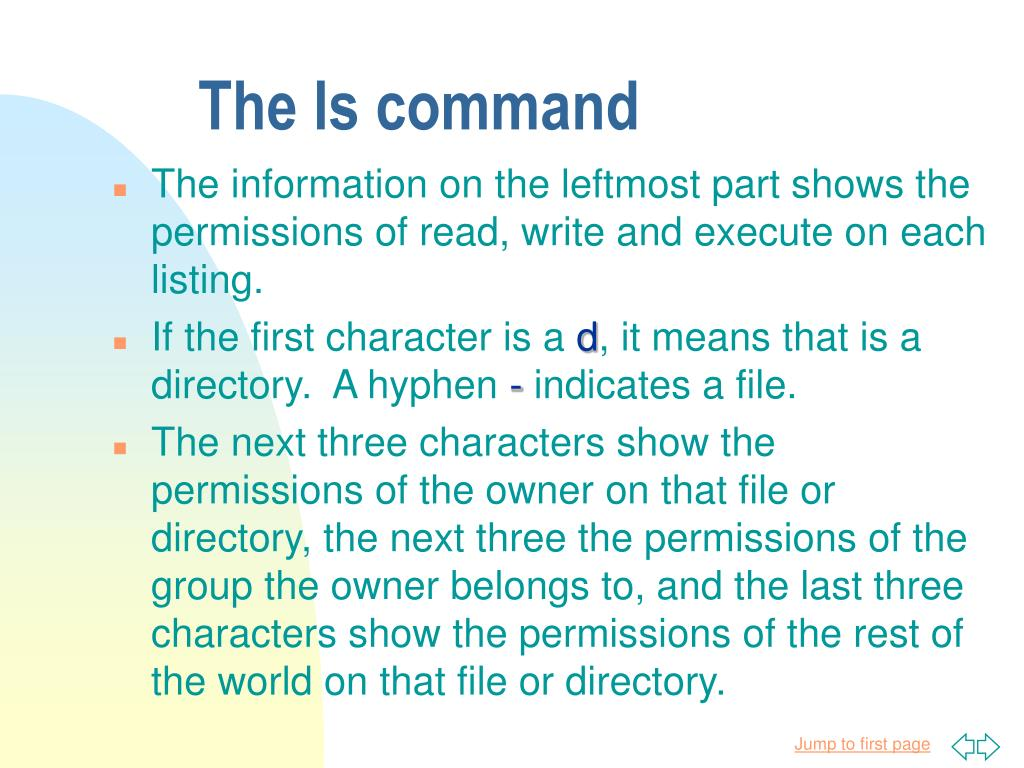 The ls command