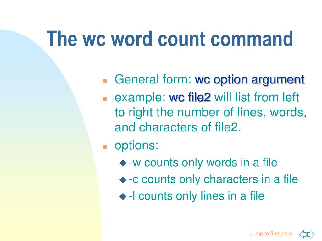 The wc word count command