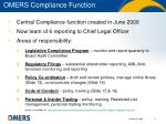 omers compliance function