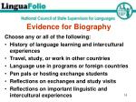 evidence for biography