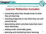 learner reflection includes