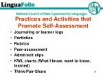 practices and activities that promote self assessment