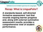 recap what is linguafolio