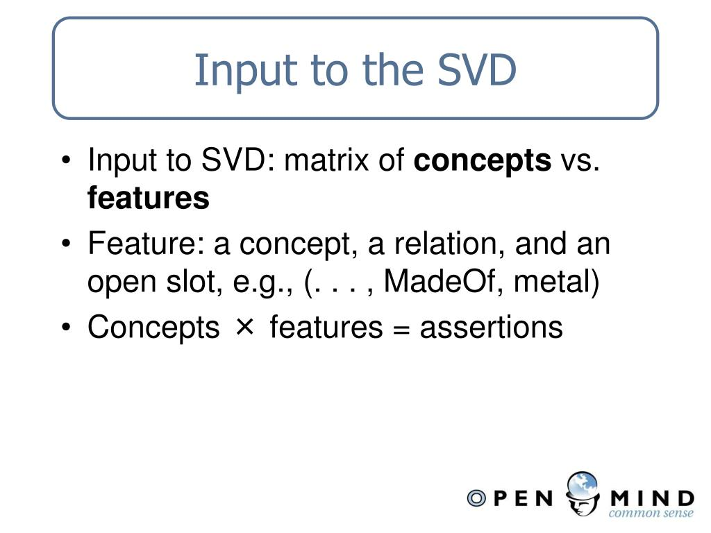 Input to the SVD