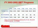 fy 2003 2009 imet programs in millions