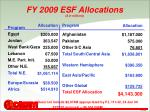 fy 2009 esf allocations in millions