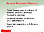 security assistance summary
