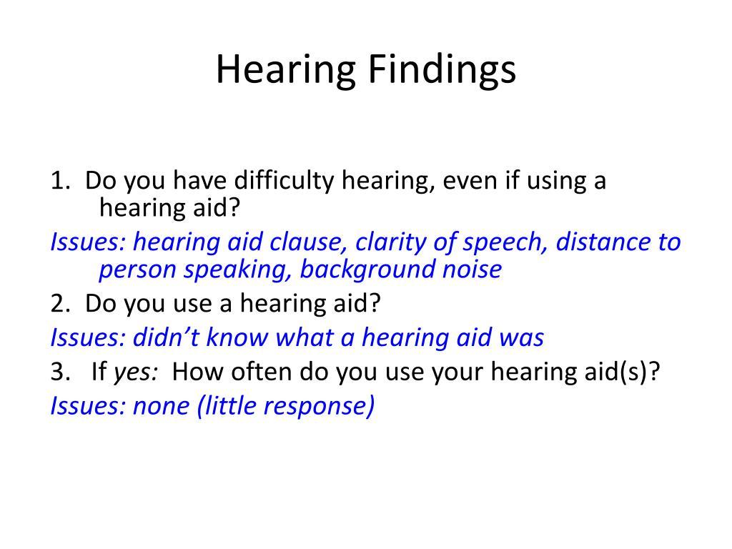 Hearing Findings