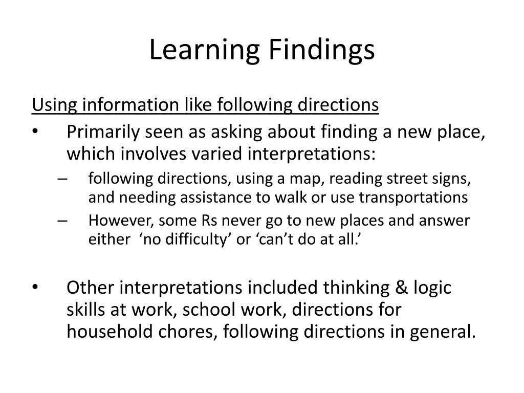 Learning Findings