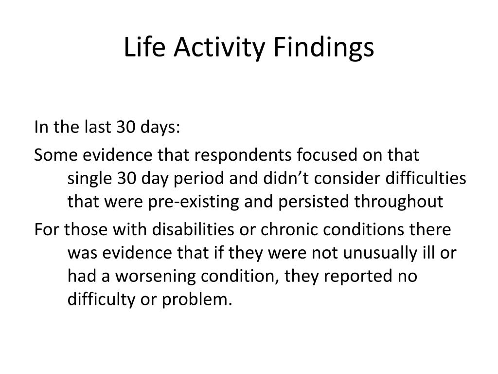 Life Activity Findings