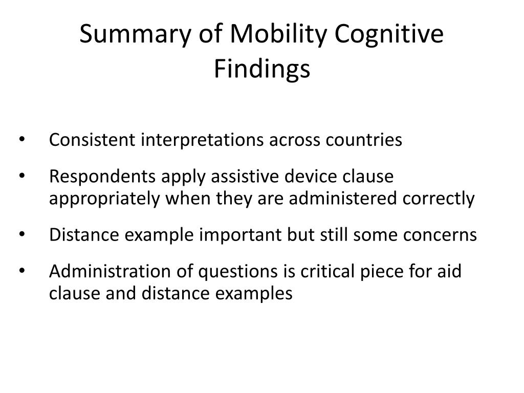 Summary of Mobility Cognitive Findings