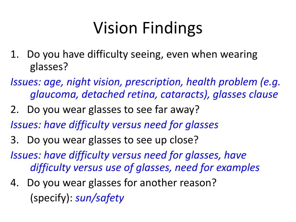 Vision Findings