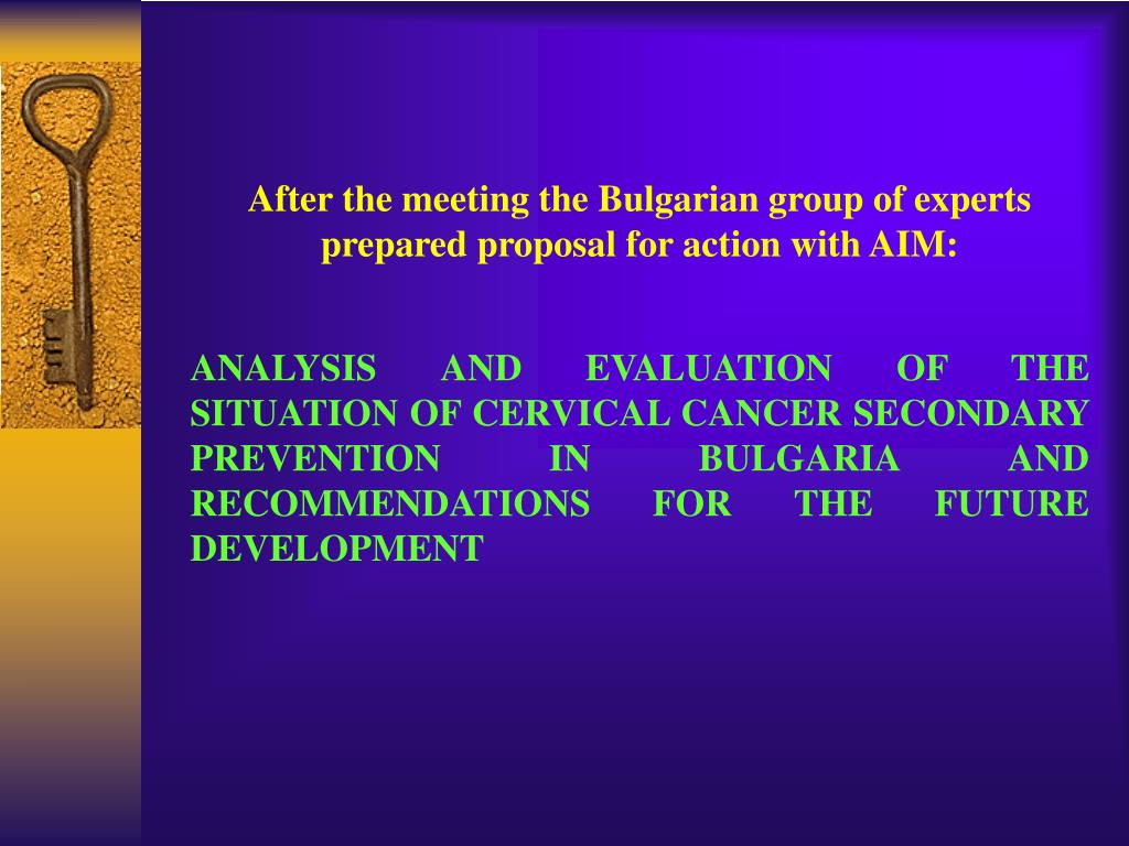 After the meeting the Bulgarian group of experts prepared proposal for action with AIM:
