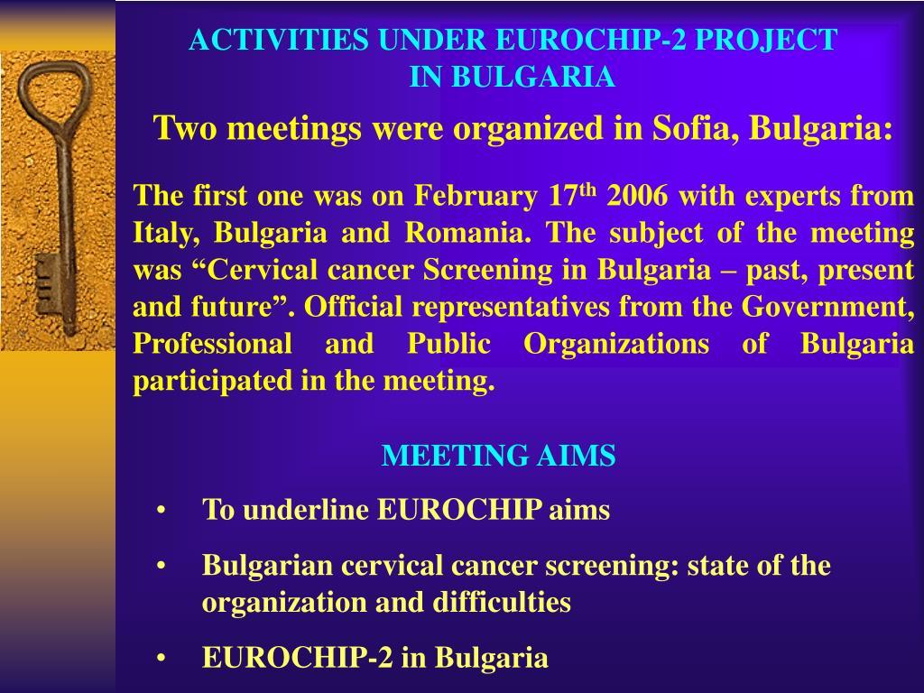 ACTIVITIES UNDER EUROCHIP-2 PROJECT