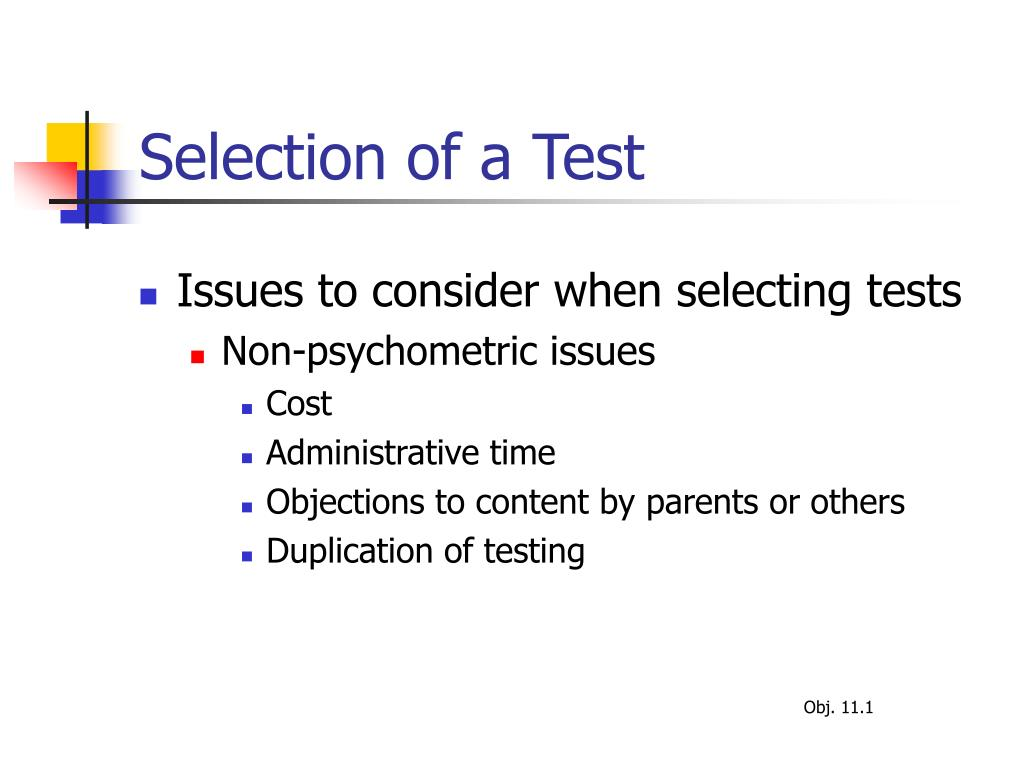 Selection of a Test