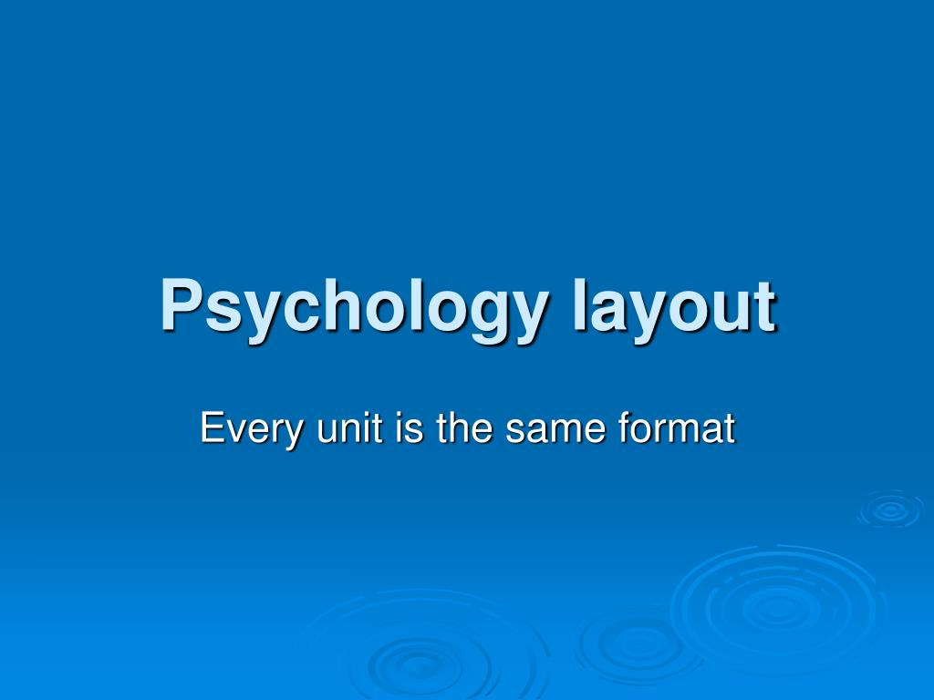 psychology layout