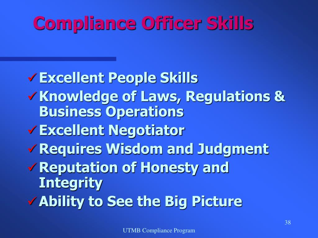 Compliance Officer Skills