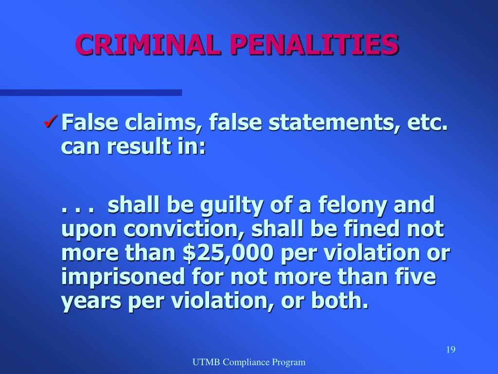 CRIMINAL PENALITIES