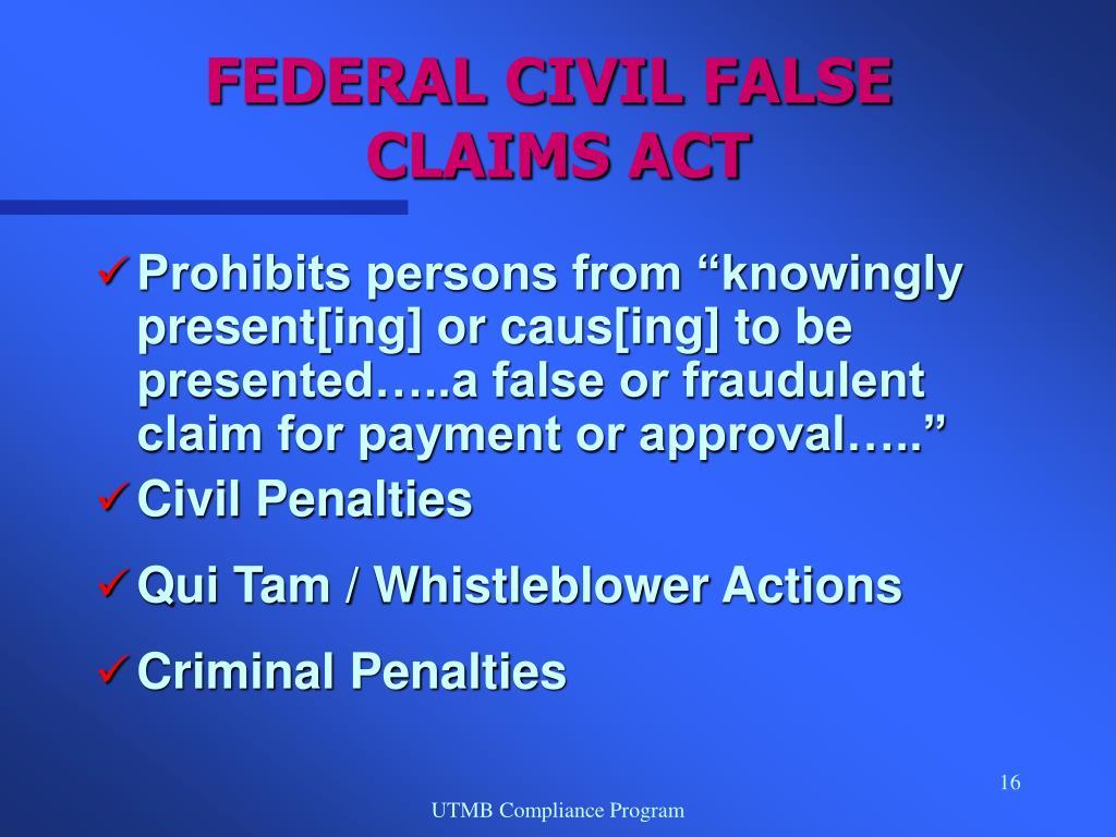 FEDERAL CIVIL FALSE