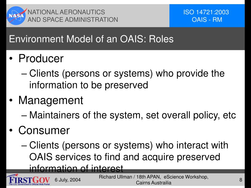 Environment Model of an OAIS: Roles