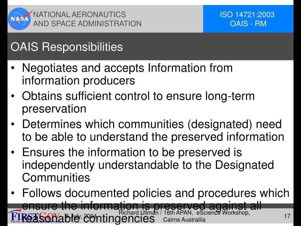 OAIS Responsibilities