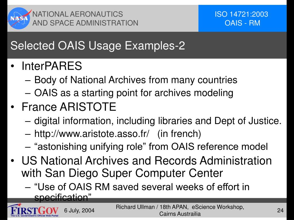 Selected OAIS Usage Examples-2